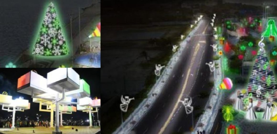 Así van a iluminar su vida los barranquilleros en el Gran Malecón: se encienden las luces navideñas