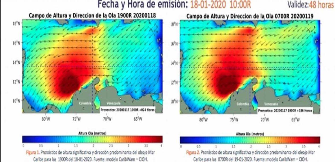 Aumentan velocidad del viento y altura de oleajes en el Litoral Caribe: Dimar