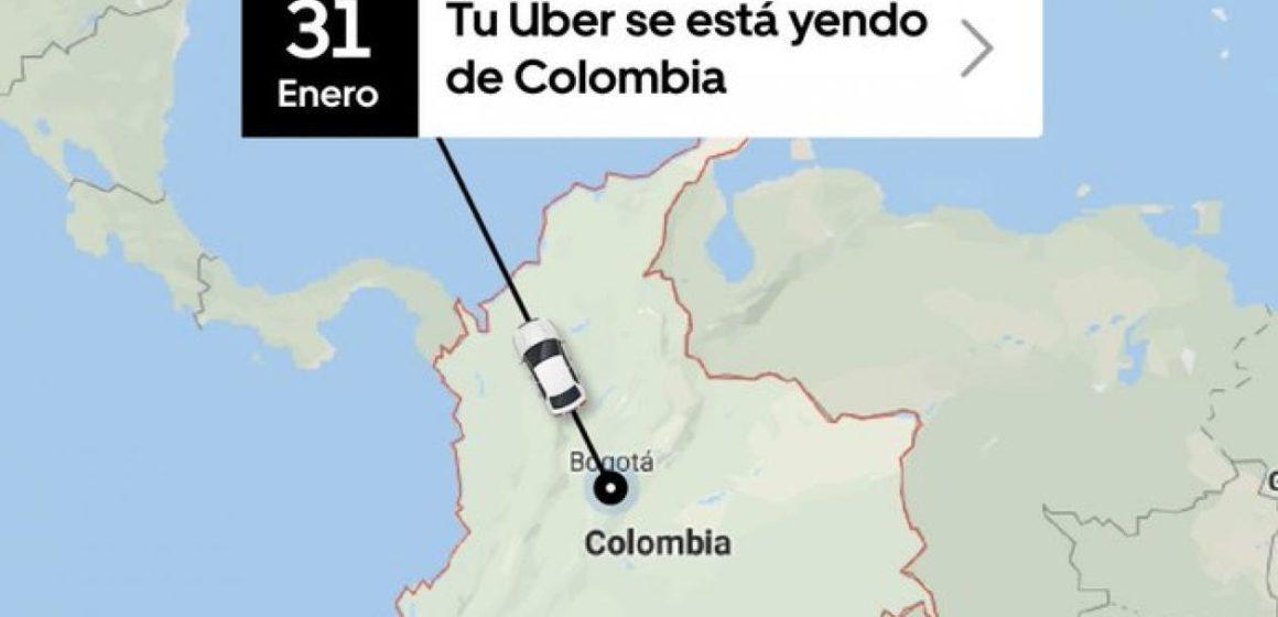 Uber anuncia que se va de Colombia: dejará de operar a partir del 1 de febrero