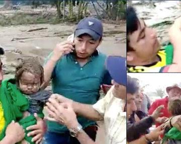 Rescatan vivo a bebé de 8 meses en medio del lodo en avalancha en Santander