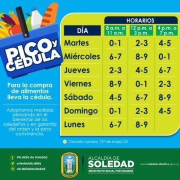 Alcaldía de Soledad implementa el 'pico y cédula' para comprar alimentos