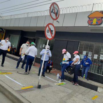 Alcaldía de Soledad  demarcó zonas bancarias para evitar aglomeraciones