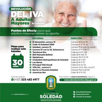 Hasta este 30 de abril hay plazo para que adultos mayores de Soledad retiren la devolución del IVA