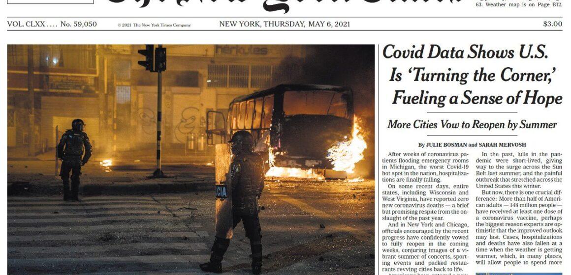 LA PORTADA DE THE NEW YORK TIMES DICE QUE EN COLOMBIA LA REPRESION HA AVIVADO LAS LLAMAS.